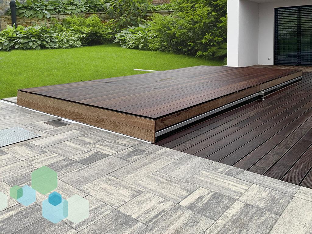 Pooldach Individual mit Holzbeplankung